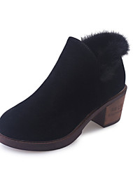Women's Boots Fall Winter Platform Other Comfort Suede Fur Outdoor Dress Casual Chunky Heel Platform Others Black Green Walking