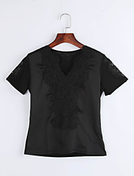 Summer Casual/Daily/Plus Size Women's Tops Solid Color V Neck Short Sleeve Lace Embroidered Slim Blouse Shirt