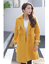 Sign 2016 winter new long-sleeved temperament drawstring waist and long sections woolen jacket coat female