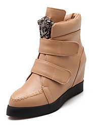 Women's Closed Round Toe High-Heels Soft Material Low-top Solid Boots