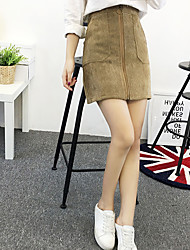 Sign corduroy skirt zipper skirts female autumn and winter package hip skirt a solid color retro dress skirt