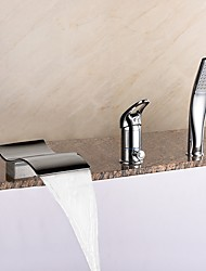 Newest Roman Tub Waterfall / Handshower Included with  Ceramic Valve One Handle Three Holes for  Chrome  Bathtub Faucet