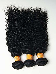 6A 3pcs 100g Black Kinky Curly Wave Human Hair Weaves Indian Texture Human Hair Extensions