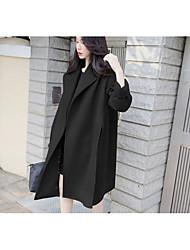 Women's Casual/Daily / Work Boho Coat,Solid Shirt Collar Long Sleeve Spring / Fall Black Wool Medium
