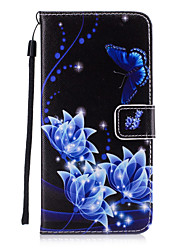 For iPhone 7 Plus 6 Plus 6S SE 5S 5 Flower Butterfly Pattern PU Leather Full Body Case with Stand and Card Slot