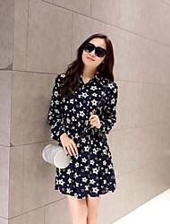 Women's Going out / Casual/Daily / Work Simple / Cute / Street chic Sheath / Chiffon / Shirt Dress,Galaxy Shirt Collar Above KneeLong