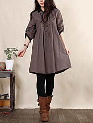 Women's Casual/Daily Loose Dress,Solid Shirt Collar Above Knee Long Sleeve Brown / Gray / Yellow Cotton / Linen Spring InelasticOpaque /