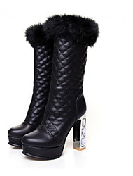 Women's Boots Winter Comfort PU Casual Chunky Heel Black White