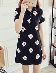 Nininiu  Women's Casual/Daily Cute Shift DressFloral Shirt Collar Above Knee  Length Sleeve Black Polyester Fall Mid Rise Micro-elastic Medium