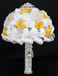 """Wedding Flowers Round Roses Bouquets Satin 19.7""""(Approx.50cm)"""