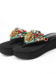 Women's Slippers & Flip-Flops Summer PU Casual Athletic Platform Creepers Rhinestone Crystal Flower Black Walking