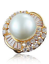 Women's Gold Plating Big Pearl Promise Ring