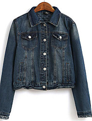 Women's Casual/Daily Simple Denim Jackets,Solid Shirt Collar Long Sleeve Spring / Fall Blue Cotton Medium