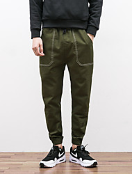 Men's Harem Chinos Pants,Casual/Daily Simple Solid Low Rise Zipper Cotton Micro-elastic Spring / Fall