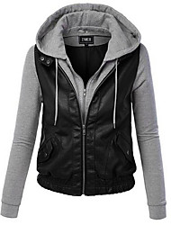 Women's Casual/Daily / Sports Simple / Active Fall / Winter Jackets Color Block V Neck Long Sleeve Black PU 916398