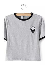 Damen Gestreift Niedlich Lässig/Alltäglich T-shirt,Rundhalsausschnitt Sommer Kurzarm Weiß Baumwolle Mittel