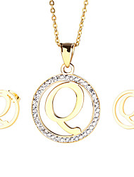 Kalen New Fashion Stainless Steel 18K China Gold plated Capital Letter Q Pendant Necklace And Earrings Jewelry Sets For Women Cheap Accessory Gifts
