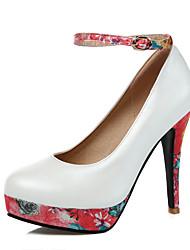 Feminino-Saltos-Plataforma / Sapatos com Bolsa Combinando-Salto Agulha-Azul / Rosa / Branco-Courino-Casual / Festas & Noite