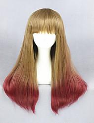 mode 24inch harajuku sexy peruca lolita longue ligne droite perruque blonde ombre rouge avec une frange pour les femmes de cheveux