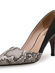 Women's Heels Other Comfort Leather Other Animal Skin Office & Career Dress Casual Party & Evening Stiletto Heel Animal Print Split Joint