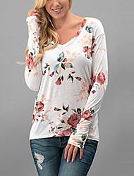 Damen Blumen Einfach Lässig/Alltäglich T-shirt,Rundhalsausschnitt Alle Saisons Langarm Weiß Polyester Dünn