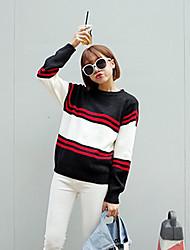 Damen Standard Pullover-Ausgehen Urlaub Retro Street Schick Solide Gestreift Schwarz Rundhalsausschnitt Langarm Kunst-Pelz Baumwolle