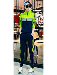 Women's Casual/Daily Active Spring / Fall Set Pant Suits,Striped Stand Long Sleeve Blue / Gray / Purple Cotton Medium