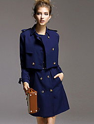 AGD Women's Casual/Daily Simple Winter Set Skirt SuitsSolid Shirt Collar Long Sleeve Blue Others