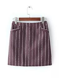 Damen Röcke,A-Linie PunkteAusgehen Mittlere Hüfthöhe Mini Knopf Baumwolle Micro-elastisch All Seasons