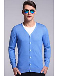 Men's Casual/Daily Simple Regular Cardigan,Solid Blue / Red / Black / Brown / Gray / Green / Orange / Yellow V Neck Long Sleeve Wool