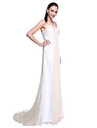 TS Couture® Formal Evening Dress - Celebrity Style / Ivanka Style A-line Straps Sweep / Brush Train Chiffon with Side Draping