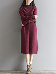 Feminino Tricô Vestido,Informal / Casual Simples / Fofo Sólido Decote Redondo Médio Manga Longa Vermelho / Preto Lã / AlgodãoOutono /