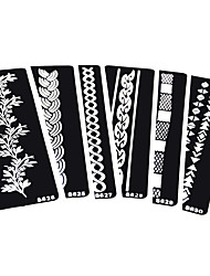 6 Pieces Indian Henna Tattoo Stencil Strip Rope Flower Pattern Design Body Art for Women Airbrush Painting Tattoo Stencil
