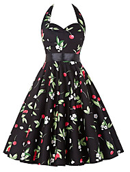 Women's Casual/Daily / Cute A Line / Skater Dress Floral Halter Above Knee Sleeveless with Bow Black Polyester Pleated Vintage Dresses