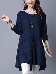Women's Street chic Loose DressSolid Round Neck Above Knee Long Sleeve Blue / Red / Green Cotton / Linen Fall Mid Rise