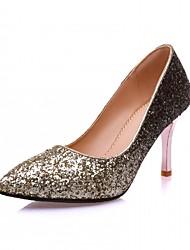Золотой Серебряный-Для женщин-Для прогулок Для офиса Для праздника-Дерматин-На шпилькеОбувь на каблуках