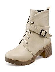 Women's Round Closed Toe Solid Mid Top Kitten-Heels Boots