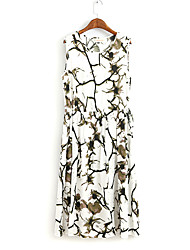 Women's Work / Sports Sexy / Cute A Line Dress,Print Round Neck Midi Sleeveless Multi-color Cotton All Seasons / Winter Mid Rise