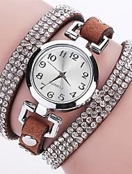 Mulheres Relógio de Moda Relógio de Pulso Bracele Relógio Simulado Diamante Relógio Quartzo Punk Colorido imitação de diamante PU Banda
