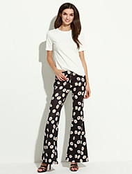 Women's Black Bootcut Pants , Sexy/Print Lace