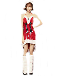 Cosplay Costumes Santa Suits Movie Cosplay Red Solid Dress / Leg Warmers / Hat Christmas Female Polyester