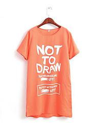 Tee-shirt Femme,Lettre Décontracté / Quotidien simple Manches Courtes Col Arrondi Blanc / Orange Coton