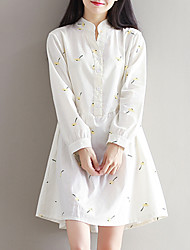 Women's Loose chic A Line DressPrint V Neck Knee-length Long Sleeve White Cotton Spring Mid Rise Inelastic Medium