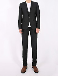 Men's Casual/Daily Simple Suits,Solid Shawl Lapel Long Sleeve Black