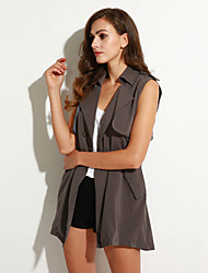 Women's Casual/Daily Simple Summer Jackets,Solid Notch Lapel Sleeveless Gray Others Opaque