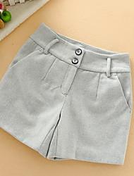 Femme simple Taille Normale Micro-élastique Short Pantalon,Droite Couleur Pleine