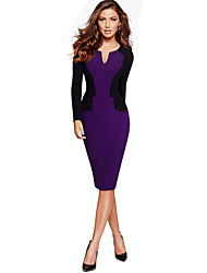 Women's Casual/Daily Street chic Sheath Dress,Patchwork V Neck Midi / Shoulder to hem measures 33.5 inch Long Sleeve Purple Cotton Autumn