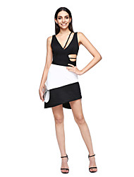 TS Couture Cocktail Party Prom Dress - Ivanka Style Celebrity Style Little Black Dress A-line Scalloped Short / Mini Charmeuse Matte Satin