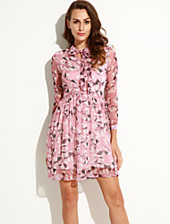 Women's Simple Floral Swing Dress,Stand Knee-length Acrylic