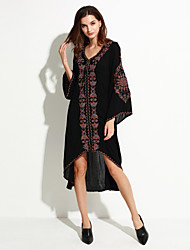 Women's Holiday Vintage Swing Dress,Embroidered Deep V Asymmetrical Long Sleeve Black Cotton Fall